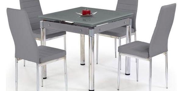 Skleněný jídelní rozkládací stůl Kent - chromovaná ocel Mléčná3