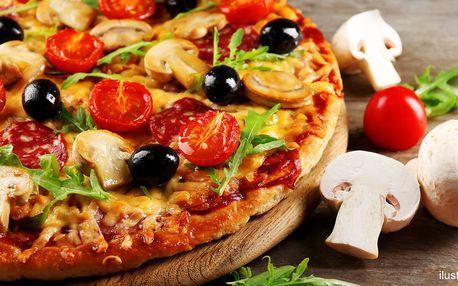 2 velké pizzy s průměrem 36 cm dle vašeho výběru