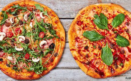 2 křupavé pizzy podle výběru s rozvozem zdarma