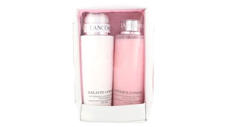 Lancome Galatée Confort dárková kazeta pro ženy čisticí mléko Galatee Confort 400 ml + čisticí voda Tonique Confort 400 ml + kosmetická taška