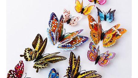 3D motýlci na zeď svítící ve tmě - 12 kusů