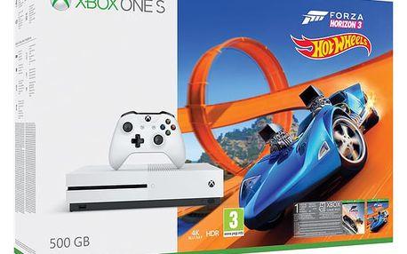 Herní konzole Microsoft Xbox One S 500 GB Forza Horizon 3 + rozšíření Forza Horizon 3 Hot Wheels + 14 denní Xbox LIVE GOLD (ZQ9-00211)