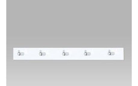 Nástěnný věšák - 5 háčků, bílý akrylát / chrom