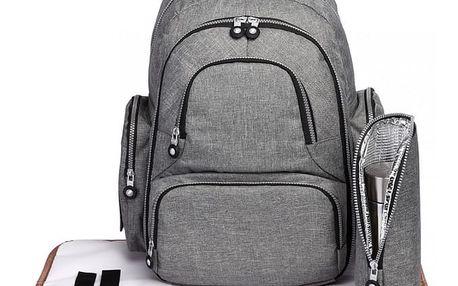SET: Mateřský šedý batoh na kočárek Dario 6706