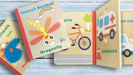 Dětská dřevěná puzzle knížka: 6 veselých motivů