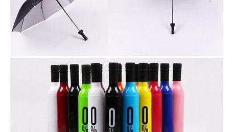 Skládací deštník v láhvi od vína