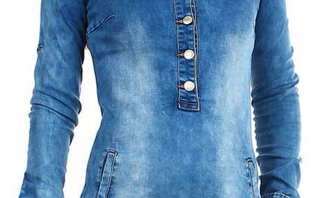 Dámské krátké džínové šaty s dlouhým rukávem modrá