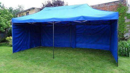 Tradgard DELUXE 41510 Zahradní párty stan nůžkový + boční stěna - 3 x 6 m modrá
