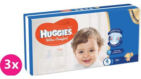 3x HUGGIES® Ultra Comfort 4 (8-14 kg) 54 ks – jednorázové pleny