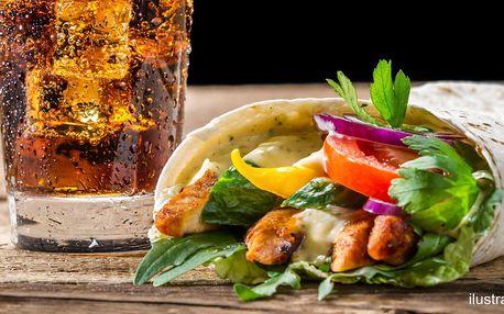 Velký kebab v chlebu nebo v tortille i s pitím