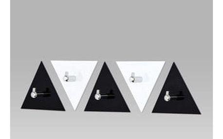 Set nástěnných věšáků (5ks), černý a bílý akrylát / chrom