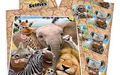 Herding Bavlněné povlečení Zoo Selfie, 140 x 200 cm, 70 x 90 cm