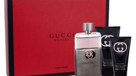 Gucci Guilty Pour Homme dárková kazeta pro muže toaletní voda 90 ml + balzám po holení 75 ml + sprchový gel 50 ml