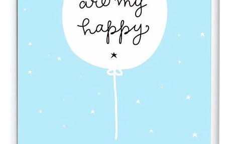 A Little Lovely Company Plakát do dětského pokojíčku Happy Ballon 50 x 70 cm, modrá barva, papír