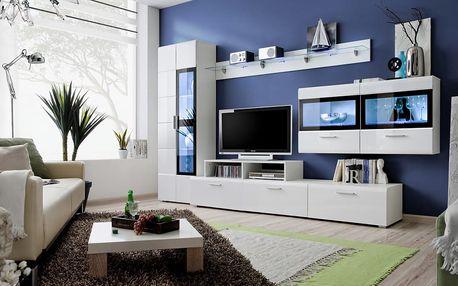 Obývací stěna KRONE IV, bílá matná/bílý a černý lesk