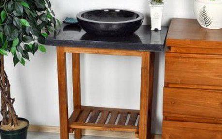 DIVERO 9526 Koupelnový stolek pod umyvadlo - teakové dřevo + mramorová deska