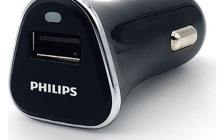 Adaptér do auta Philips DLP2359, 1x USB, 2,1A černá (Phil-DLP2359/10)
