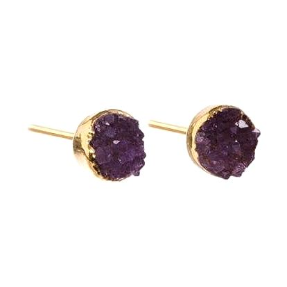 DECADORN Náušnice Mini Circle Amethyst/Gold, fialová barva, zlatá barva, kov, kámen