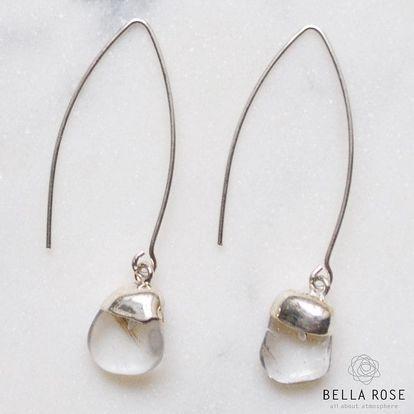 DECADORN Visací náušnice Tumbled Clear Quartz/Silver, stříbrná barva, čirá barva, kov, kámen