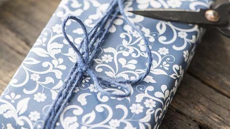 IB LAURSEN Balicí papír Flower pattern Blue - 10 m (široký), modrá barva, papír