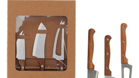 Nicolas Vahé Nože na sýr - set 3 ks, hnědá barva, stříbrná barva, dřevo, kov