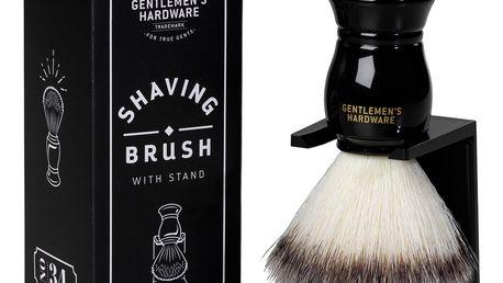 GENTLEMEN'S HARDWARE Štětka na holení se stojánkem, černá barva, bílá barva, dřevo, plast