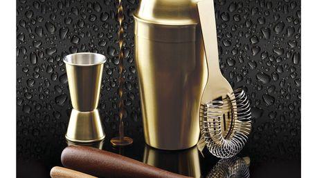 Kitchen Craft Sada zlatého koktejlového shakeru Cocktail, zlatá barva, dřevo, kov