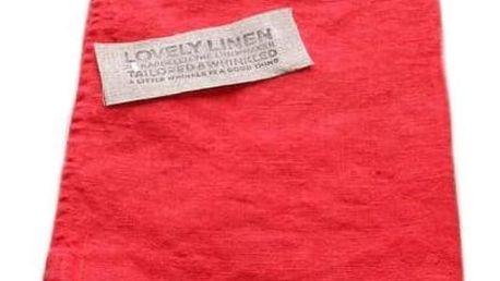 Lovely Linen Lněný běhoun na stůl Real Red, červená barva, textil