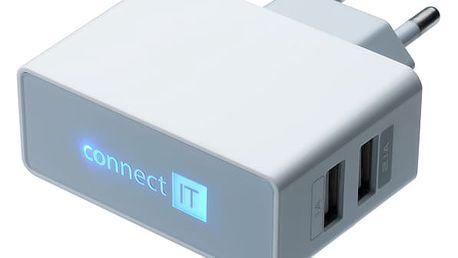 Nabíječka do sítě Connect IT 2x USB, 2.1 A/1 A bílá (CI-151)