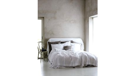 Lovely Linen Přírodní lněné povlečení Misty Cloud, bílá barva, textil