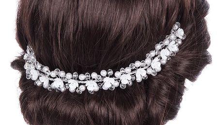 Svatební ozdoba do vlasů - čelenka crystal krystalky a perly do vlasů