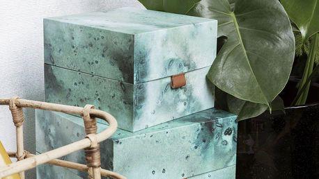 House Doctor Úložný box čtverec Earth Větší, modrá barva, zelená barva, papír