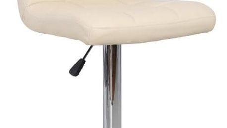 Barová židle, ekokůže béžová / chrom, KANDY