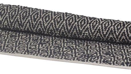 Chic Antique Kobereček z recyklované kůže Black 70x150, béžová barva, černá barva, textil, kůže
