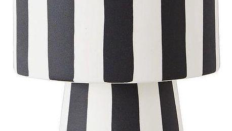 OYOY Miska na podstavci Toppu Pot Small, černá barva, bílá barva, keramika