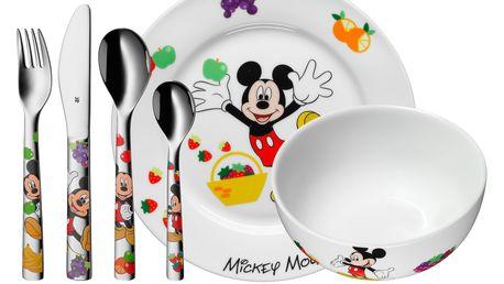 WMF Dětské nádobí Mickey Mouse, dětská jídelní sada Disney 6 ks, s příborem