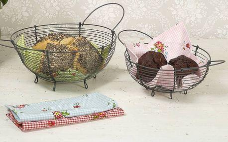 Krasilnikoff Kovový košík na pečivo Větší, šedá barva, kov