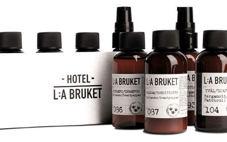 L:A BRUKET Cestovní kosmetický mini set Travel - 4 ks, hnědá barva, plast, papír