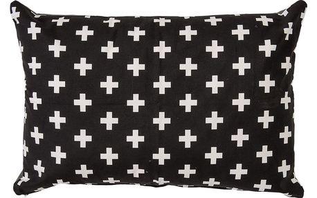 Bloomingville Polštář White Cross, černá barva, bílá barva