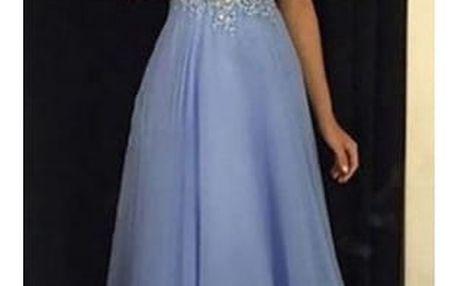 Plesové šaty v modré barvě - 4 velikosti
