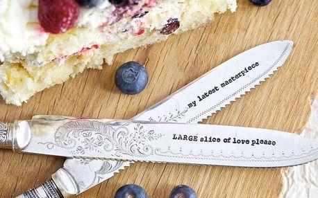 La de da! Living Postříbřený nůž na dort Slice Of Love, stříbrná barva, kov