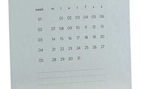 MONOGRAPH Měsíční plánovací kalendář 2019 Turn, šedá barva, dřevo, papír