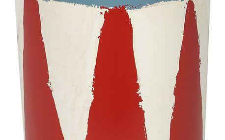 Maileg Plechová dóza - bubínek, červená barva, modrá barva, krémová barva, kov