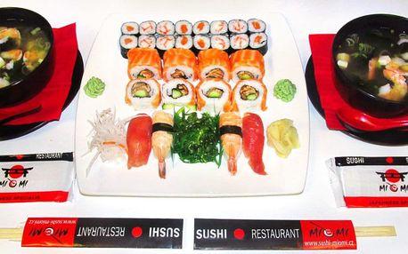 Asijské menu: 28 ks sushi a 2 krevetové polévky