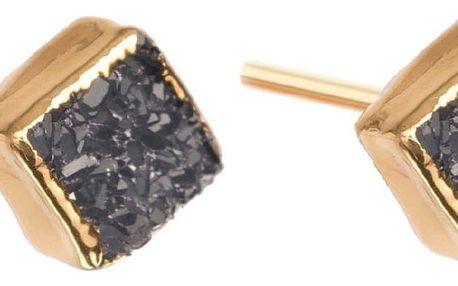 DECADORN Náušnice Mini Square Dark grey/Gold, šedá barva, zlatá barva, kov, kámen