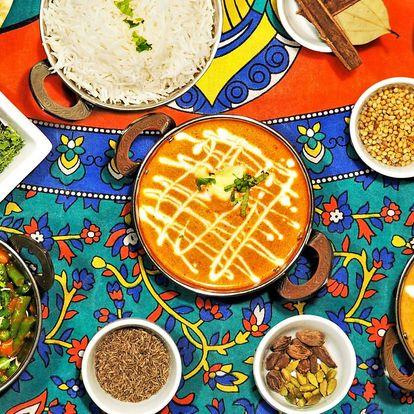 Indické menu podle výběru: kuřecí, jehněčí i vege