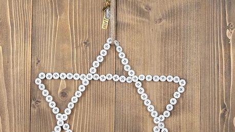 Hvězda z knoflíčků - menší, bílá barva