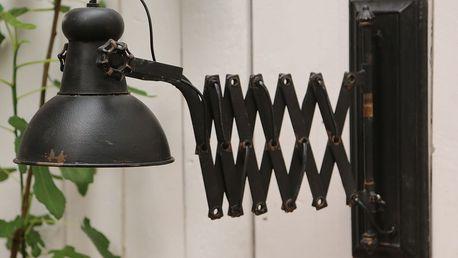 Chic Antique Nástěnná lampa Factory antique black, černá barva, kov