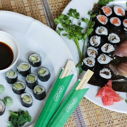 Sushi sety s 16–39 ks: krevety, losos i avokádo