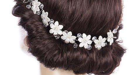 Svatební ozdoba do vlasů - čelenka Pearl krystalky a perly do vlasů